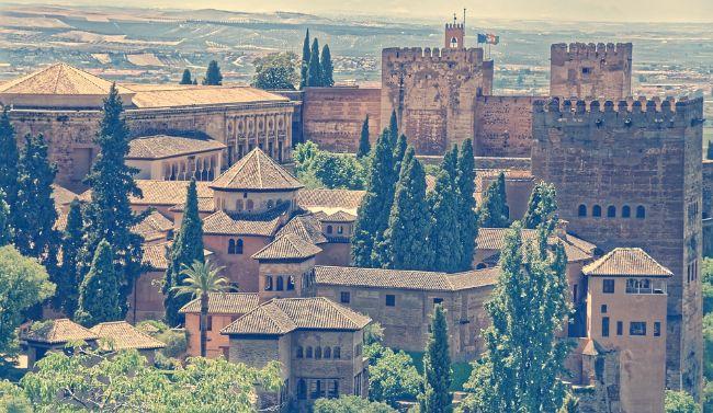 Vista aérea de los Palacios Nazaríes en su conjunto