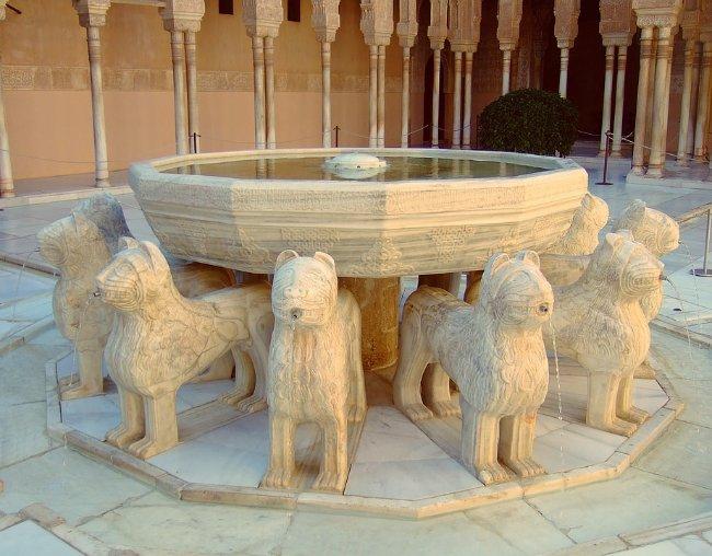 La Fuente de los Leones en la Alhambra